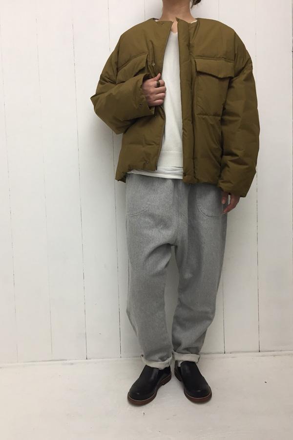 河田ダウン ブルゾン × ドヴィーデニム サルエルパンツ style