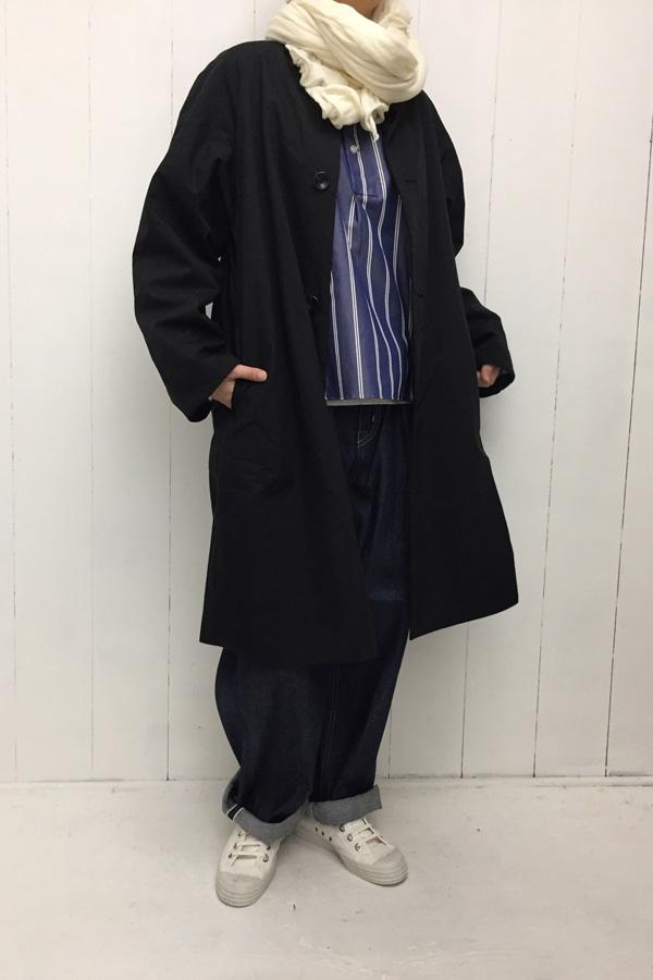 リバーシブルノーカラーコート × PAJAMAS SHIRT style