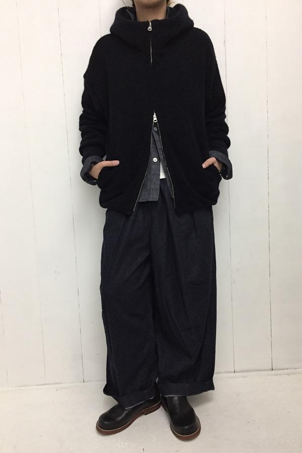 フードZIPパーカー ×ノットインディゴデニム レギュラーカラーシャツ style