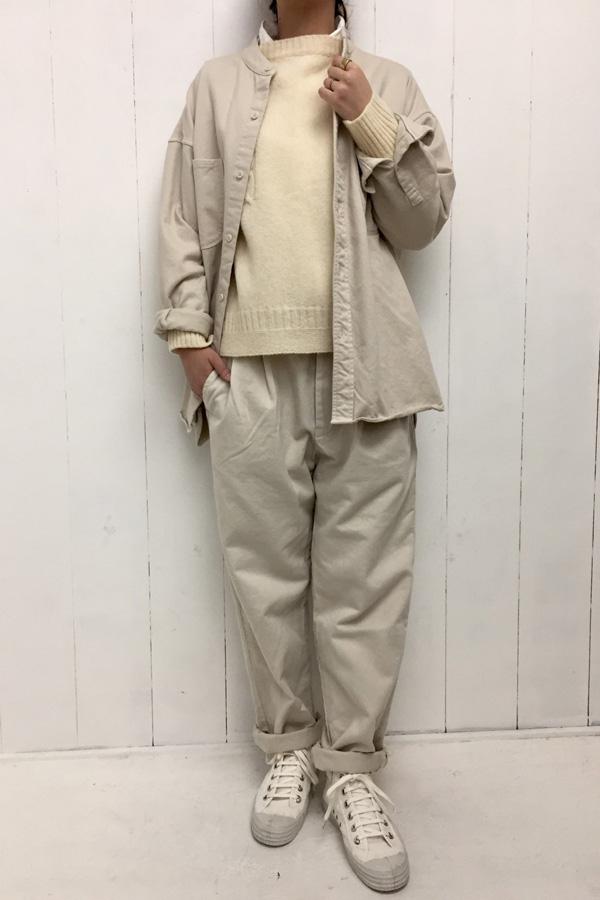 ガンジープルオーバー × スタンドカラー オーバーサイズシャツ style