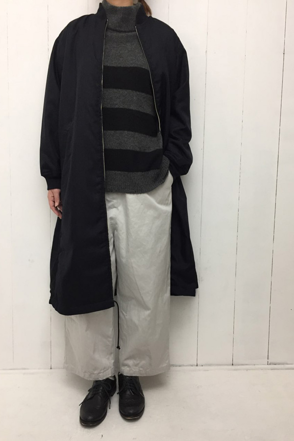 ハイネック ボーダーニット × ワイドブルゾンコート style
