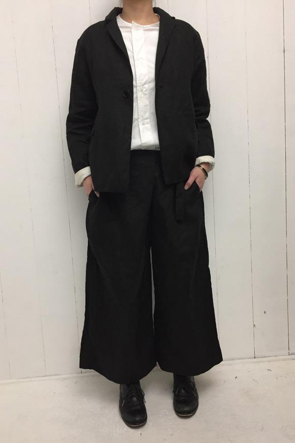 リネン ジャケット × リネン ラップパンツ style