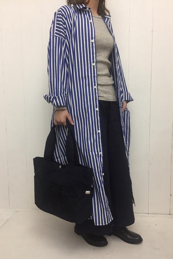 パジャマストライプ レギュラーカラー ビッグシャツワンピース × ツイル ワイドパンツ style
