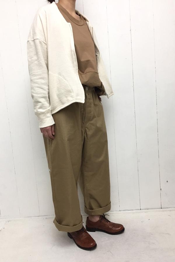 裏毛 ZIP カーディガン × 超度詰天竺×タイプライター 切替7分袖 ワイドTシャツ style