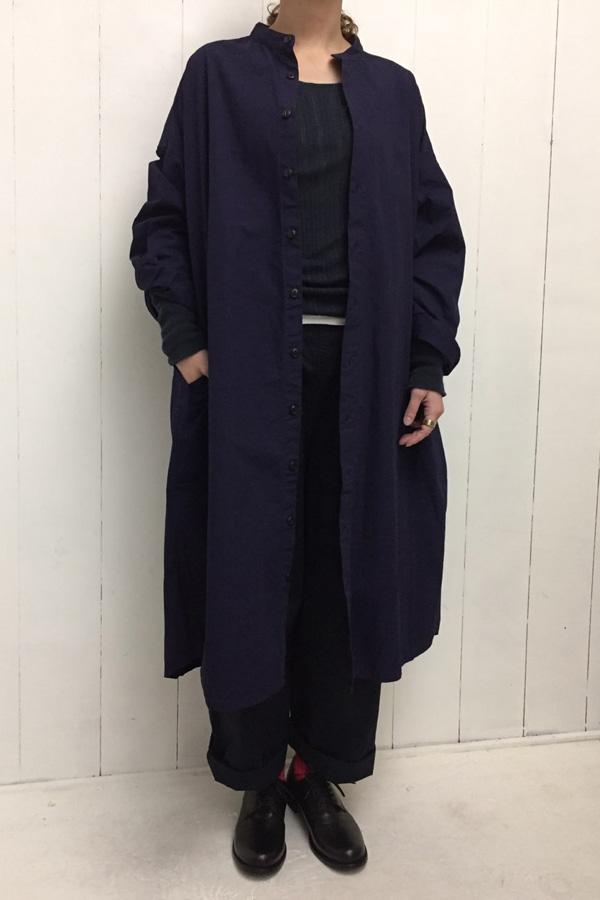 スタンドカラー ワイドシャツワンピース × BOTTLES PANTS chino style