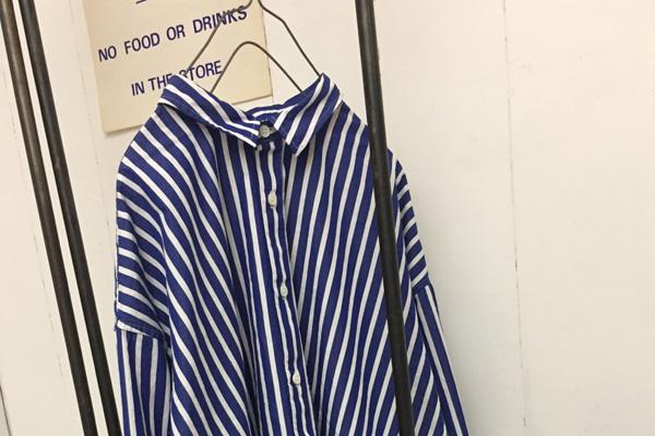 ストライプ レギュラーカラー ビッグシャツ