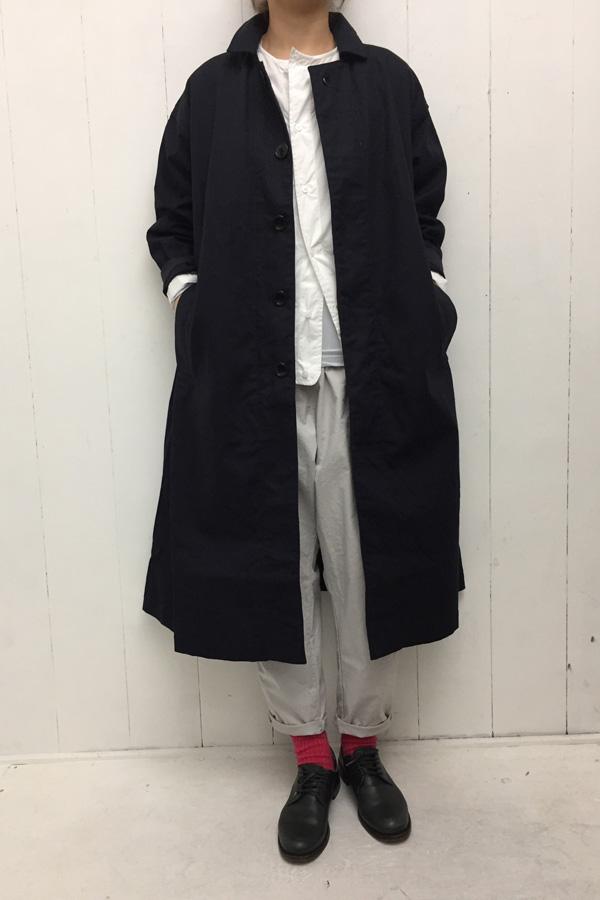 ショートステンカラーコート × ストレッチツイル サルエルパンツ style