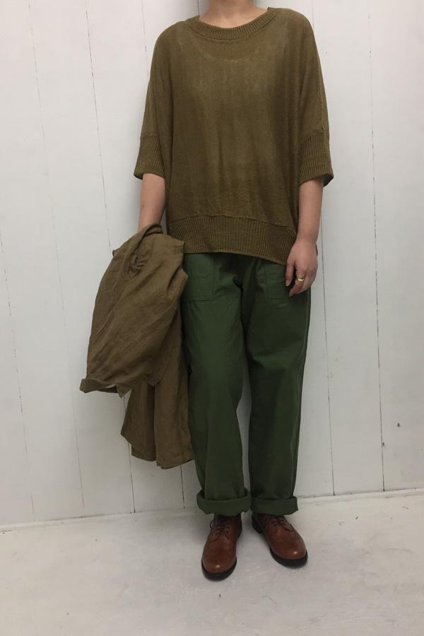 リネン 7G天竺編み 5分袖 ワイドプルオーバー × ルーズ ベーカーパンツ style