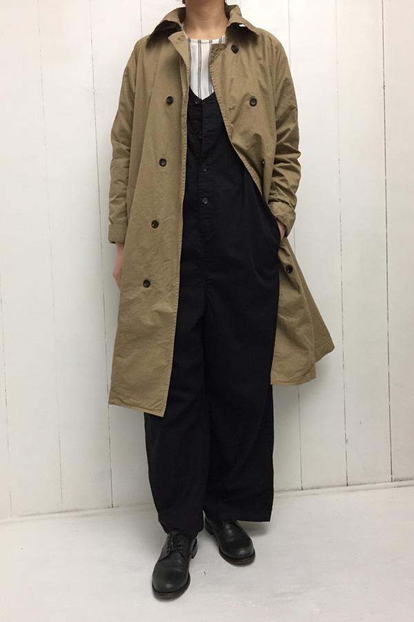 コットンチノクロス Aラインコート × オールインワン style