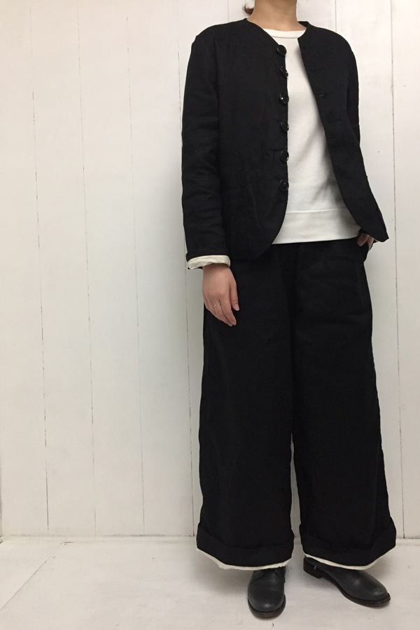 NO COLLAR JACKET × WIDE PANTS style