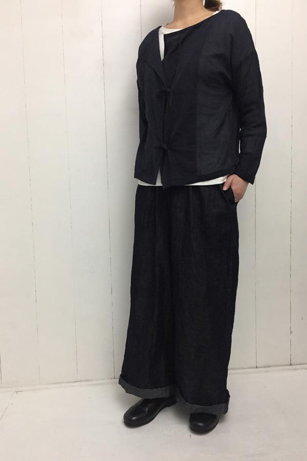 リボンブラウス × デニム ロング イージーパンツ style