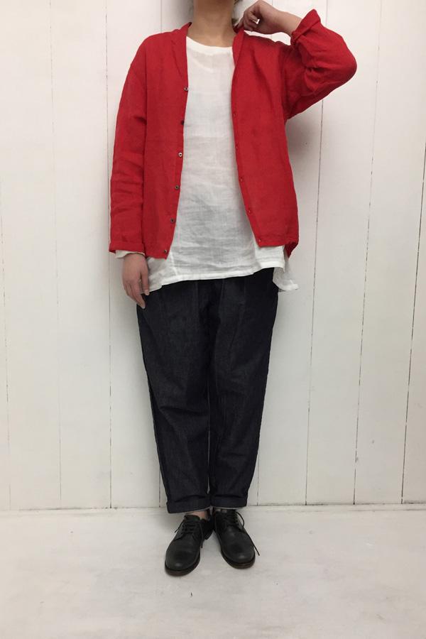 60/1 リネン 裾ゴムカーディガン × 5ポケット テーパードパンツ style