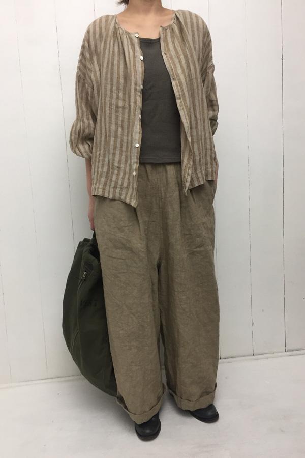水撚り STRIPE シャツ × リネン ルーミーロングパンツ style