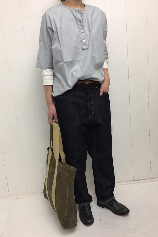 ヘンリーネックプルオーバー × 10oz DENIM PANTS style