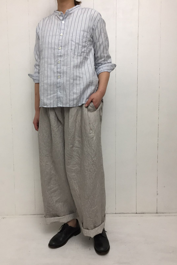 バレストライプ 7分袖 スタンドカラーシャツ style
