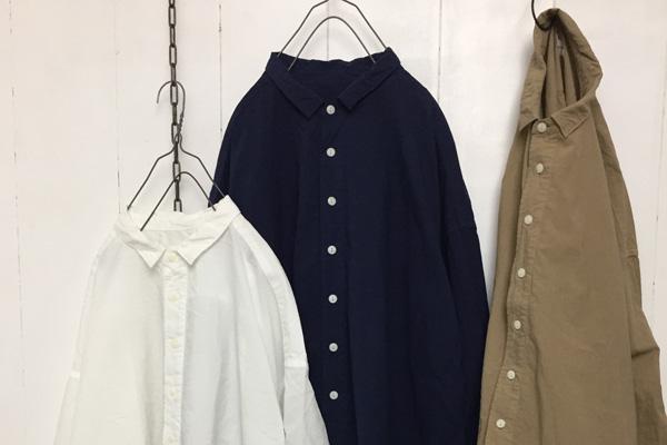 コットンリネンシーチング 近江晒加工 長袖レギュラーカラーシャツ