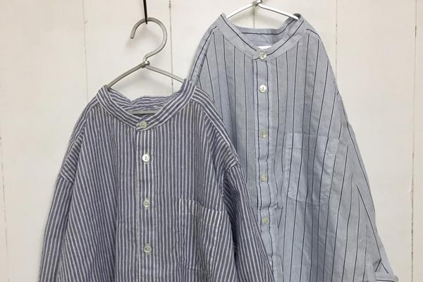コットンリネン バレストライプ 7分袖 スタンドカラーシャツ