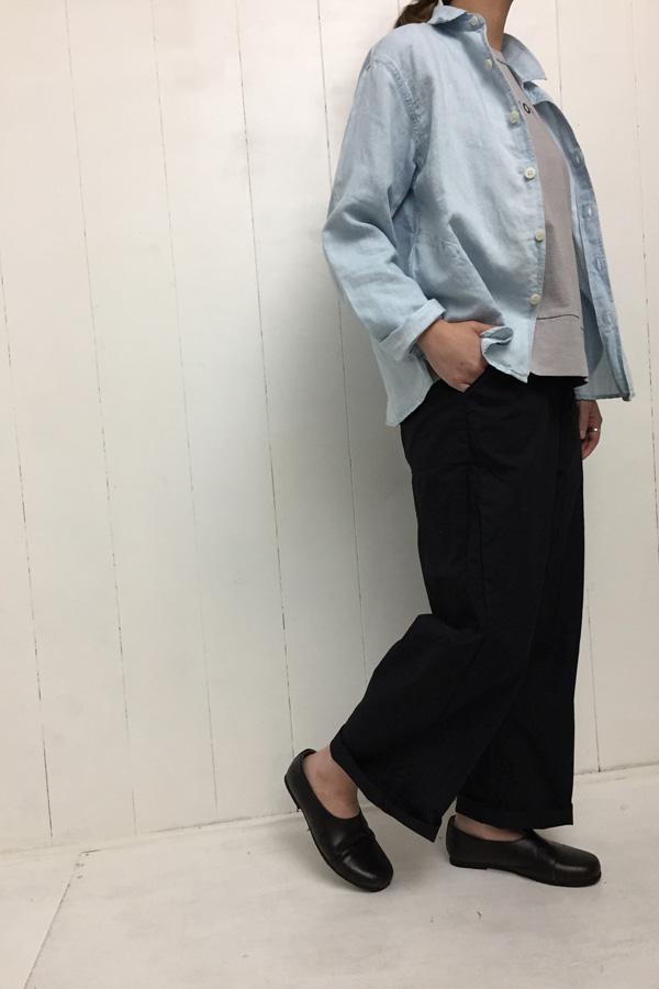 デニム フォールカラーシャツ × 海上がり Girl's Tシャツ style