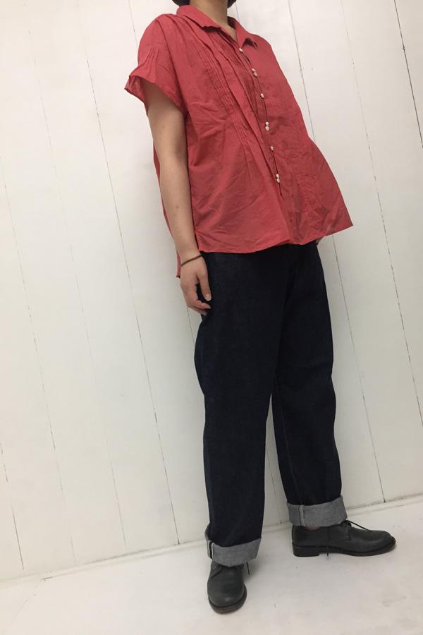 random tuck ブラウス × 5POCKET DENIM style