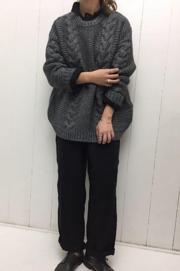 LINEN JUMP SUIT × プルオーバーニット style