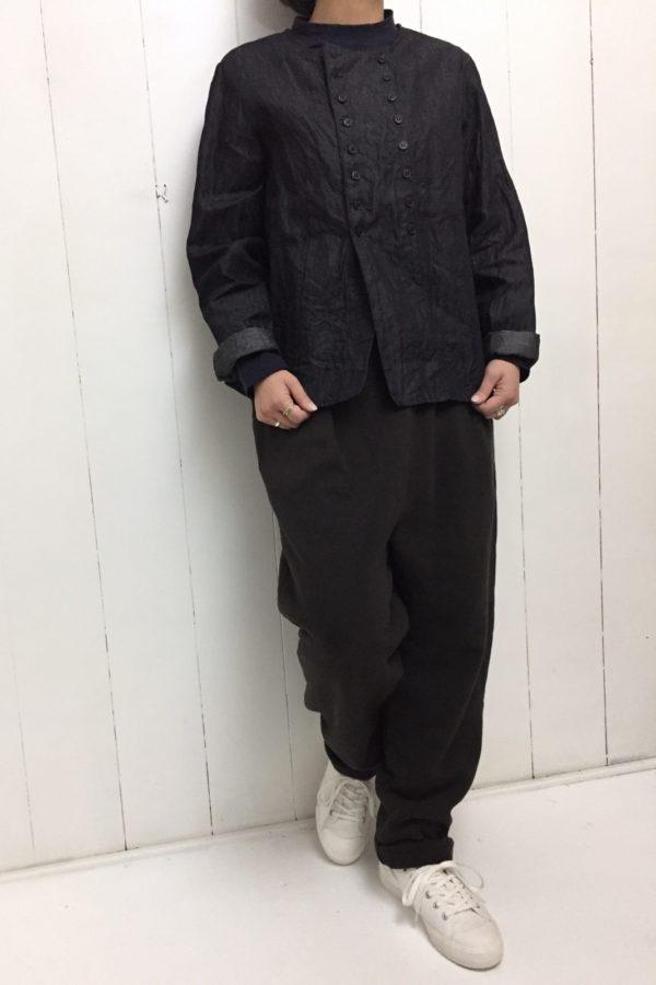 ライトデニム コックシャツ × 起毛裏毛 テーパードパンツ style