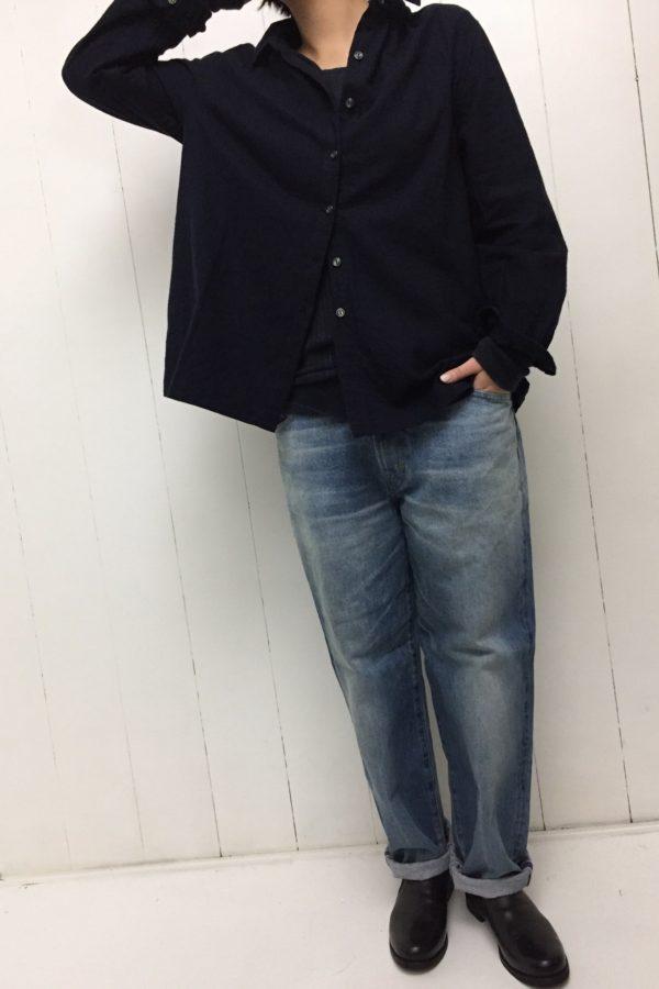 起毛ツイル ギャザーシャツ × BIG DENIM style