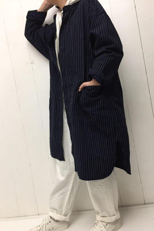 ブッチャーストライプ オーバーシャツ × シャツパーカー style