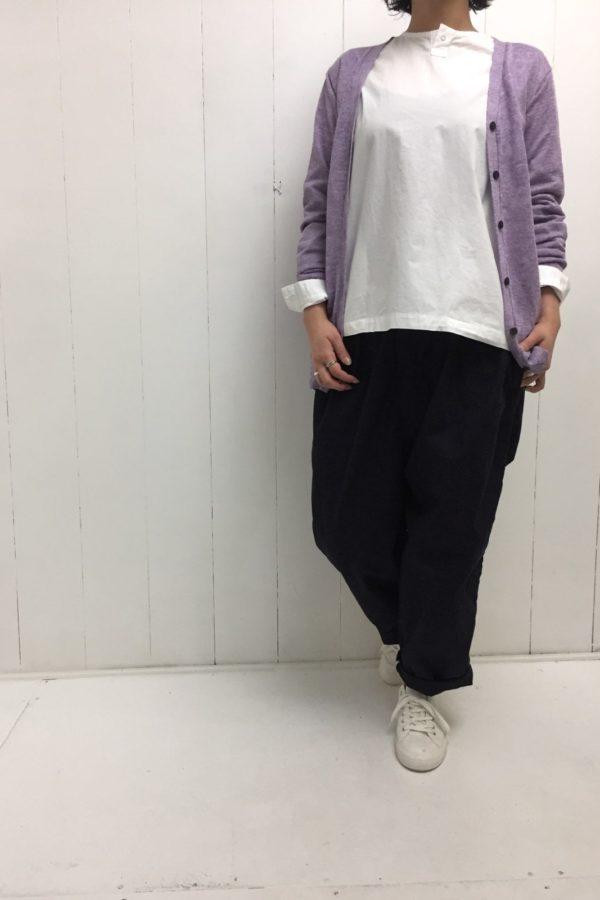 LINEN KNIT CARDIGAN × NARROW BALL PANTS style