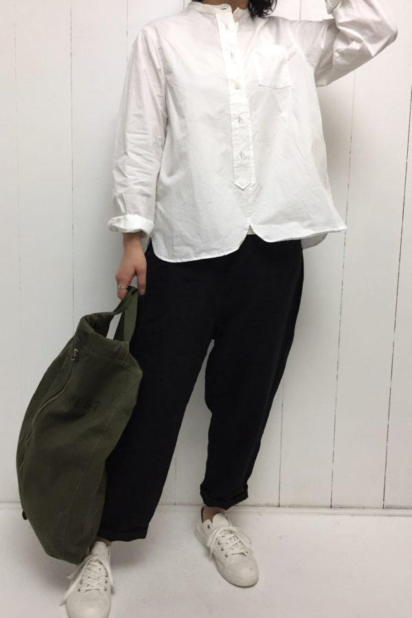 バンドカラー アンティークシャツ × ワッシャー 切替ポケット テーパードパンツ style