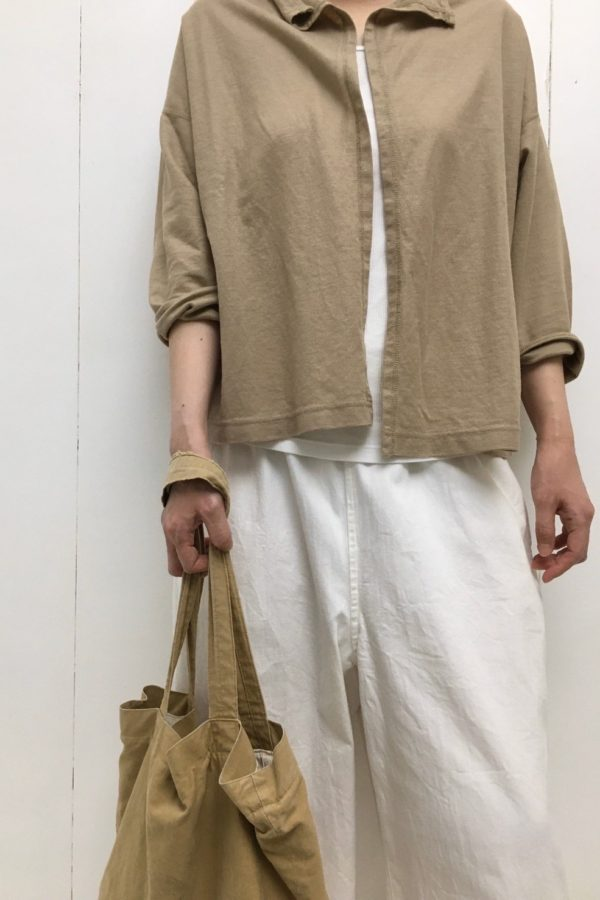 ラミー鹿の子 ショートジャケット × ライトオンスデニム イージーパンツ style