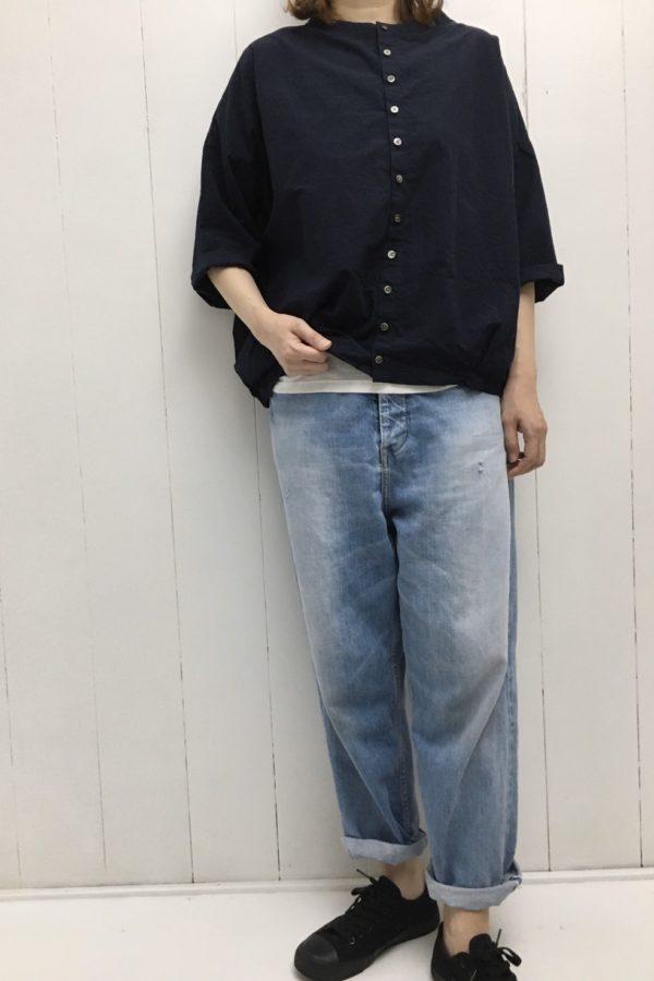 7分袖 コクーンシャツ style
