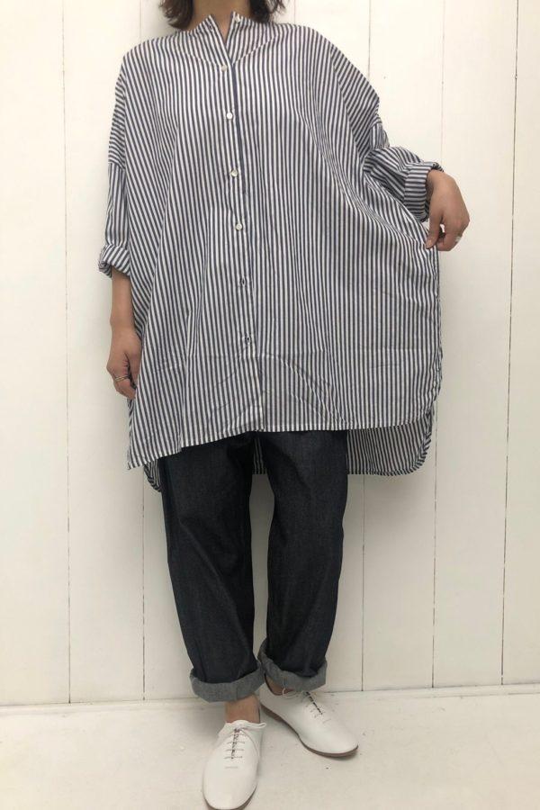 先染めストライプ ドロップシャツ × イージーデニム style
