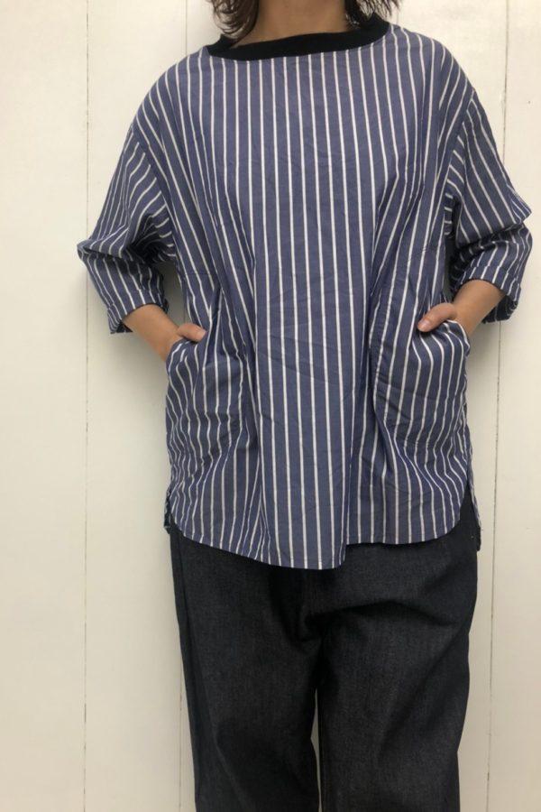 先染めストライプ プルオーバー × イージーデニム style