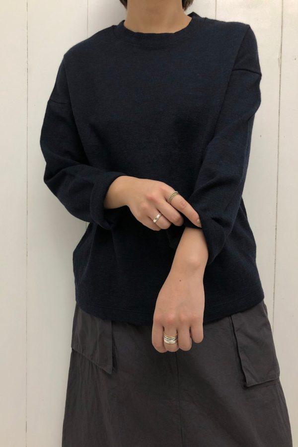 ウールミラノリブ クルーネック × フライス切替 バルーンスカート style