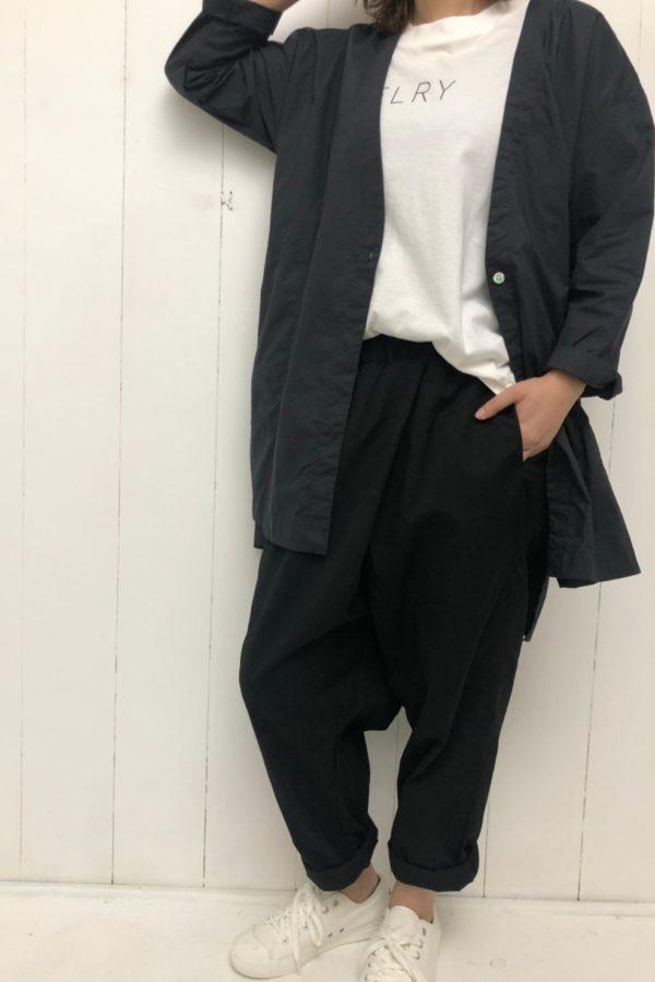 ノーカラーカーデ × リブ袖スリットTee × TWIST PANTS style