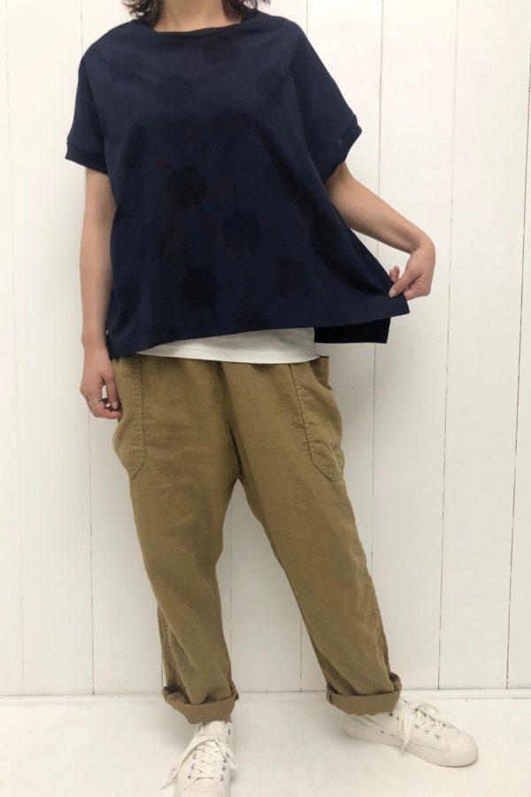 水玉ジャガード×天竺 切替プルオーバー style