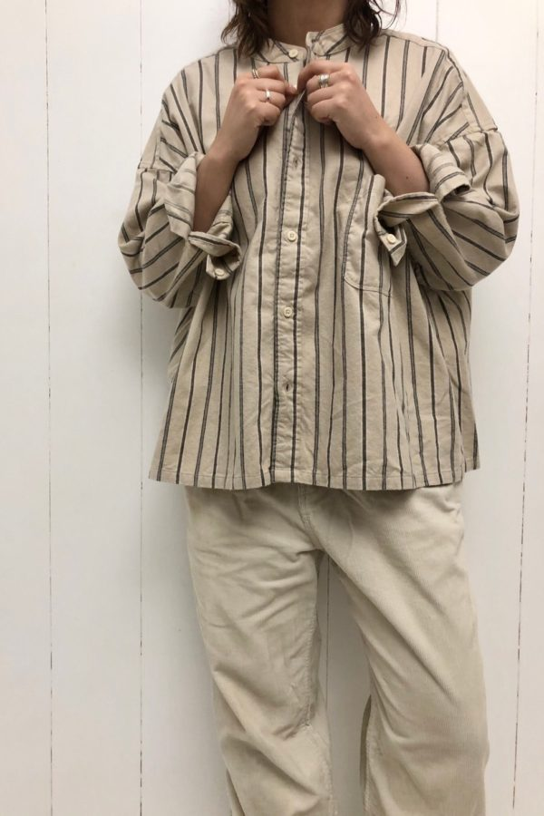 ネルストライプ スタンドカラービッグシャツ style