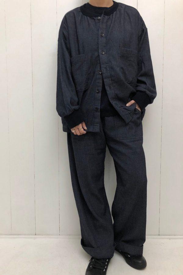 デニム裏起毛 クルーネックビッグシャツ × ベイカーパンツ set up style