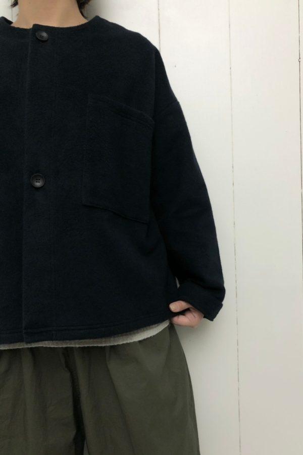 Cotton メルトン ジャケット × ハイウエストギャザーパンツ style