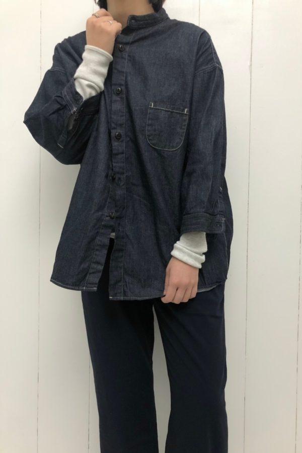 デニム 7分袖 スタンドカラーシャツ style