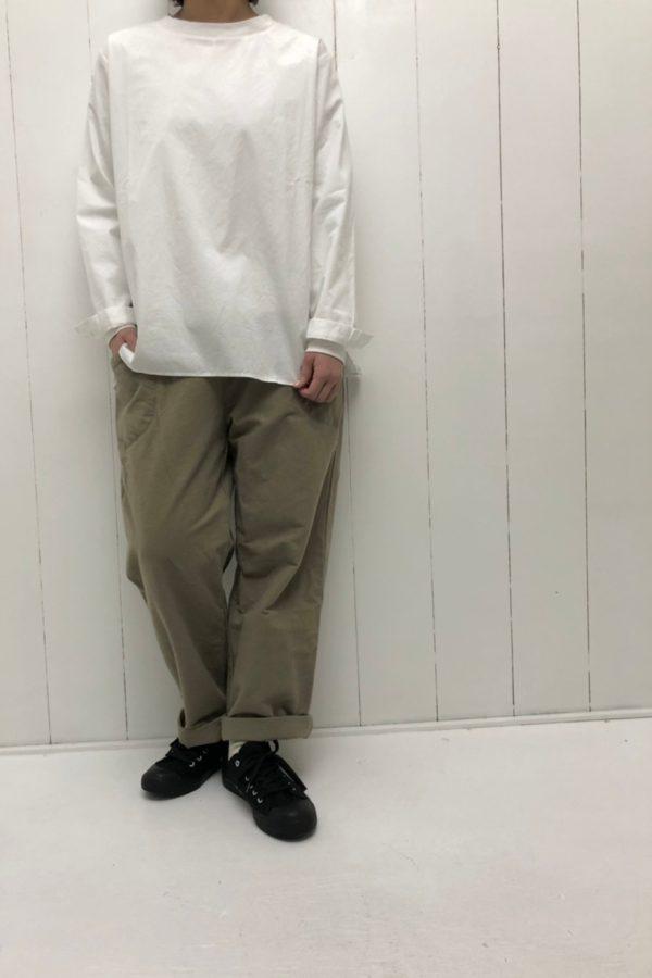 ブロード 切替ロングTee × ギャザーワイドパンツ style