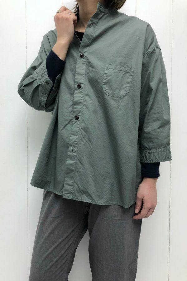 7分袖 スタンドカラーシャツ style