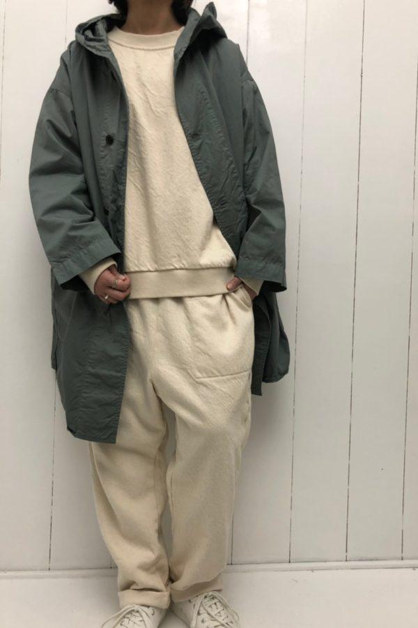 フードシャツコート × ドビーデニム ワイドプルオーバー × サルエルパンツ style