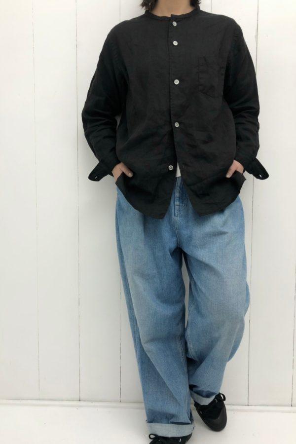 リネン平織 バンドカラーシャツ style