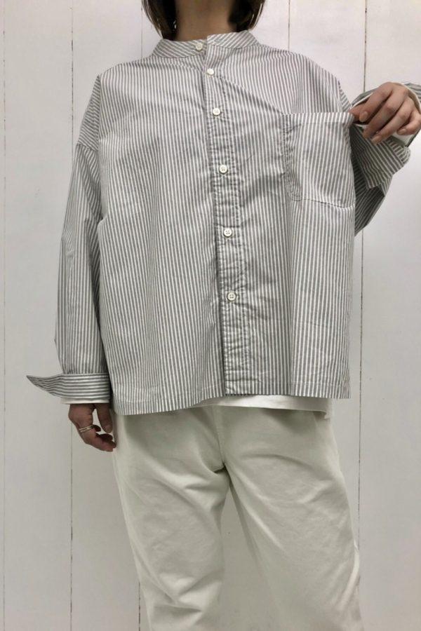 ストライプ スタンドカラー ビッグシャツ style