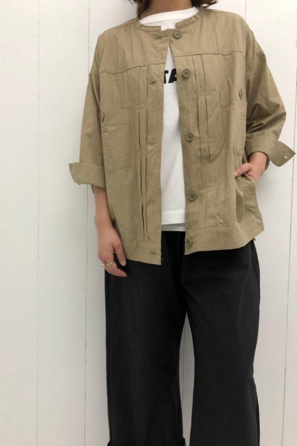 カットオフカラーシャツジャケット × アトリエパンツ style