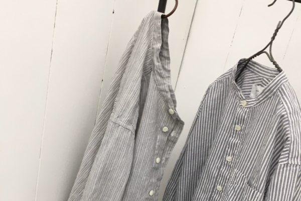 コットンリネンバレストライプ 7分袖スタンドカラーシャツ