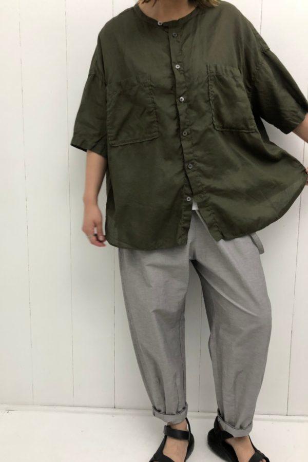 5分袖バンドカラービッグシャツ style