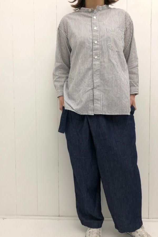バレストライプ スタンドカラーシャツ × ルローパンツ style