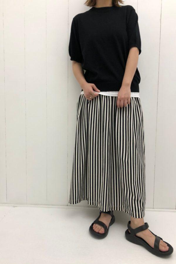 コットン 5分袖プルオーバー × ストライプ ギャザースカート style